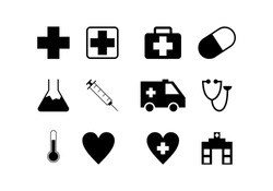 black health medical icon pack with white background