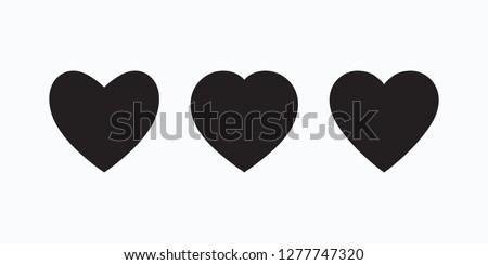 Black heart icon, love icon isolated set