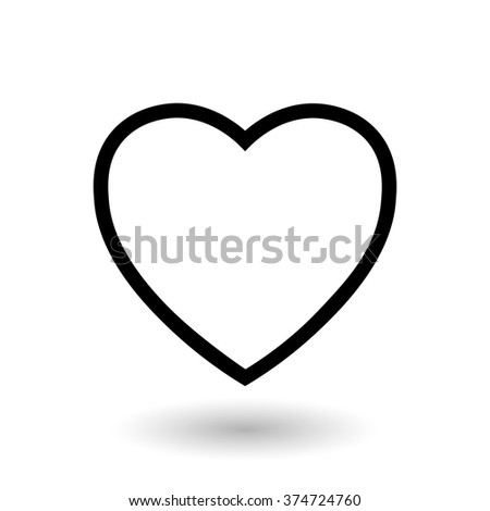 Black heart on a white background Drawing black heart on a white background with a shadow underneath