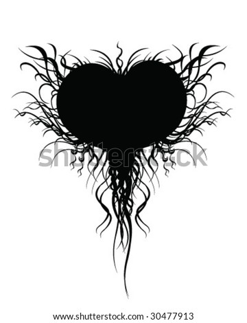 stock vector : Black Heart Tattoo Design - Vector Illustration