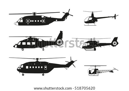Black helicopter silhouette on a white background. Side view. Vector illustration.