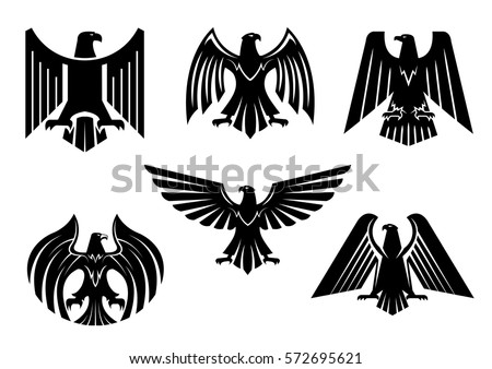Black heraldic eagle icons. Royal imperial of gothic predatory. Vector coat of arms with hawk or falcon symbol of power with spread wings, sharp clutches. Military heraldry sign