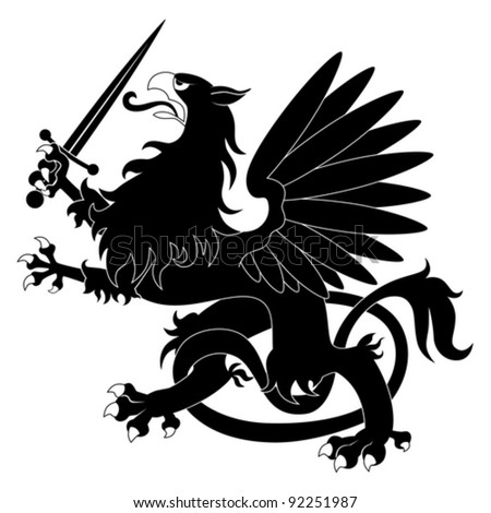 Black heraldic griffin with sword on white background