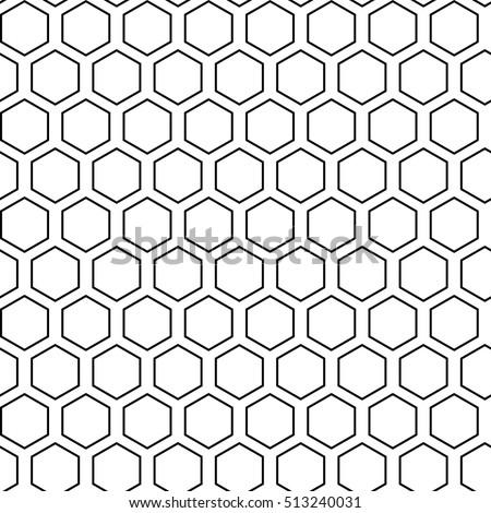 Black hexagons seamless on white background.Honeycomb pattern. Honeycomb background, seamless hexagons pattern, vector illustration