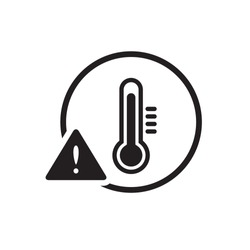 Black high temperature warning sign / icon, simple protection flat design concept vector for app ads label web banner button ui ux interface elements isolated on white background