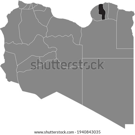 Black highlighted location map of the Libyan Marj district inside gray map of the State of Libya Stok fotoğraf ©