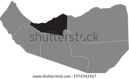 Black highlighted location map of the Somalilander Sahil region inside gray map of the Republic of Somaliland Stok fotoğraf ©