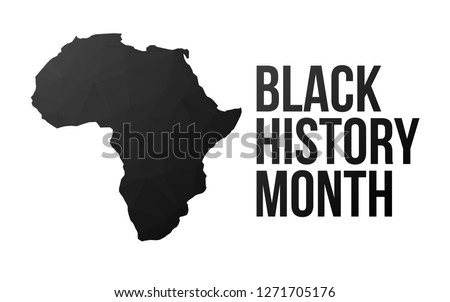 Black History Month poster. African continent. Low poly style.
