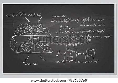 Black hole. Hand drawn formulas and graph on chalkboard.