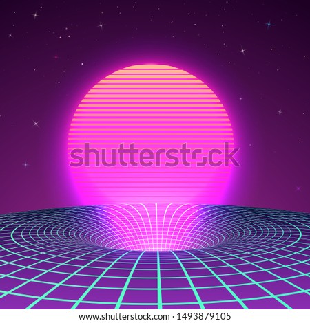 black hole in neon colors by