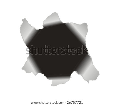 Black hole torn in paper to frame a picture or text