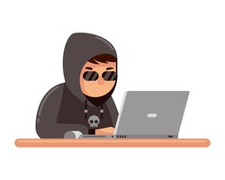 black hoodie hacker trying to cyber attack on laptop vector illustration