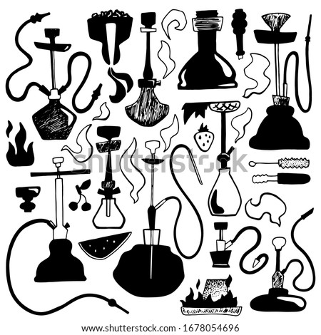 Black hookah set with smoke, spare parts and fruits. Hookah bar or lounge square vector illustration. Parts of qualyan and tobacco flavours. Decorative hookah, fire and coal clipart. Shisha shop logo