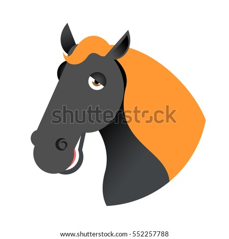 Black horse head. Muzzle hoss isolated on white background