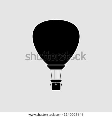 Black Hot air balloon, aircraft isolated on white background. Aerospace, airship with basket. Flat cartoon design. Vector illustration.
