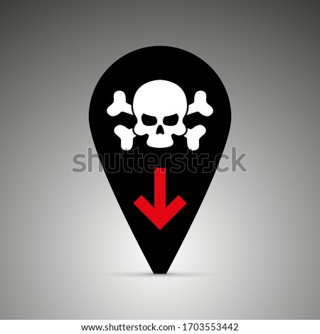 Black icon deaths from the coronavirus in pins, Covid-19. skulls and crossbones, symbol of death, danger or poison