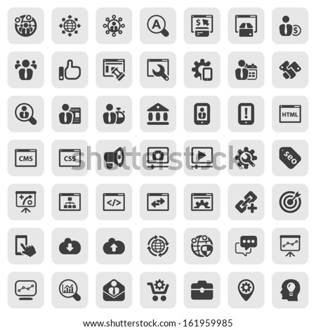 black icon set isolated on a square background for seo