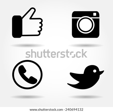 Black icon set.Social media vector button.Share background for app web,mobile. Like Follow logo