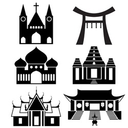 Black icon show each religious place architecture - Christ , Islam , Hindu , Buddhism (EPS10 separate icon by icon)