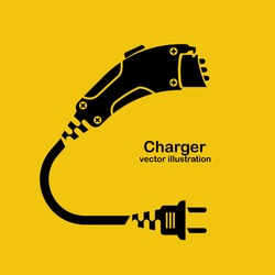 Black icon silhouette electric car charger isolated on yellow background. Eco fuel. Vector design. Electric refueling. Concept of reducing emissions of gases. Connector for charging. Plug and socket