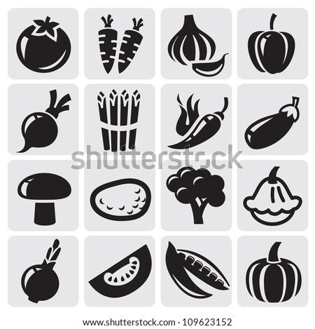 black icon vegetables vector set