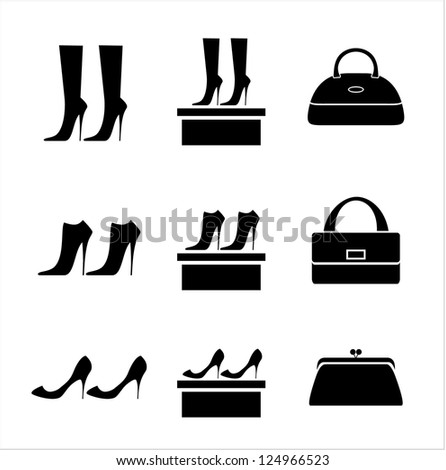 Black icons female bags and shoes. vector - stock vector