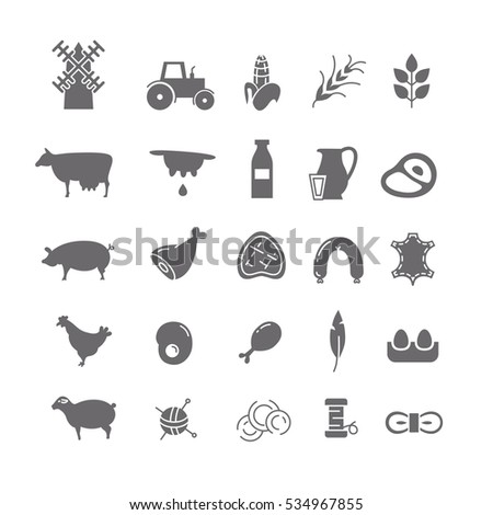 black icons of farm products