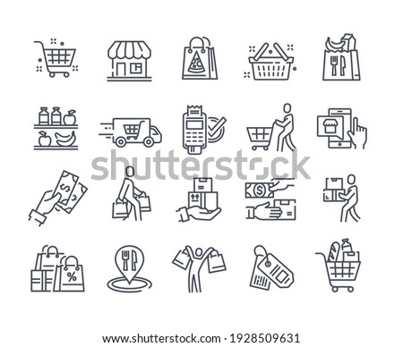 Black icons set for retail, grocery, restaurant food delivery concept. Flat outline cartoon vector illustration template design concepts isolated on white background for website, landing page web page