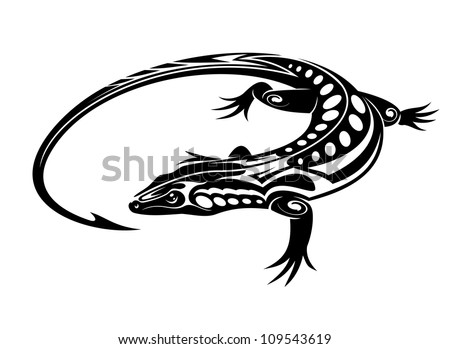 Black iguana lizard in tribal style isolated on white background, such a logo. Jpeg version also available in gallery - stock vector