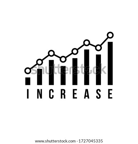 black increase icon like market growth. simple interest productivity logotype graphic minimal design element. concept of progress report or statement and high data and lead generation or performance