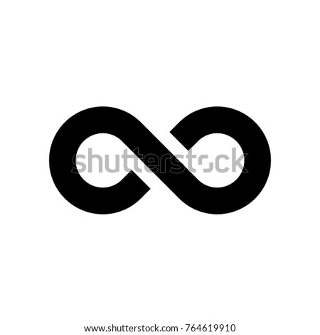 Black infinity symbol icon. Simple flat vector design element.