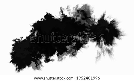 Black Ink drop on white background. Round, ragged inkblot slowly spreads out from the center. Gradient watercolor transition from dark to light. Blob vector illustration.