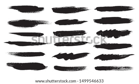 Black ink grunge brush strokes. Straight Brush Strokes. Vector illustration.