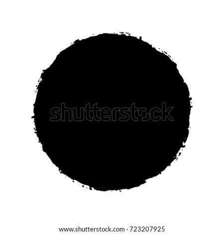 Black Ink Paint Brush Circle Isolated On White Background. Vector #723207925