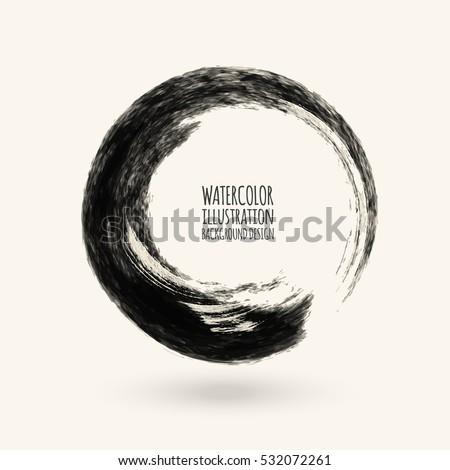 black ink round stroke on white