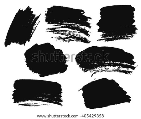 Black ink spots isolated on background. Vector illustration. Design elements or grunge background.