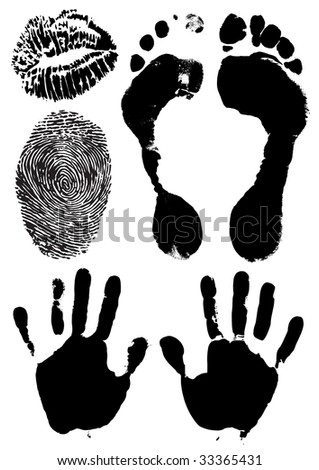 black ink stamps of human hands, foots, lips and finger - vector illustration