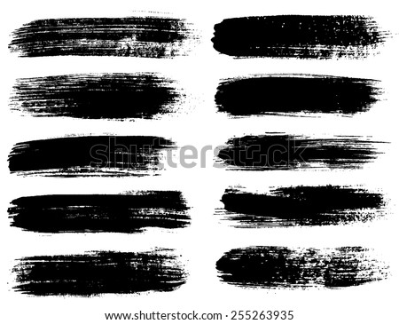 Black ink vector brush strokes #255263935