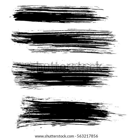 Black ink vector brush strokes background. Vector illustration. Grunge texture.