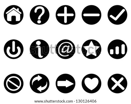 black interface button icons