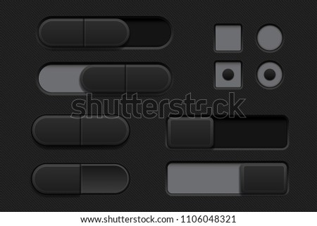Black interface buttons. 3d set of icons. Vector illustration