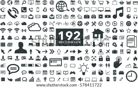 Black internet web icons collection on white background