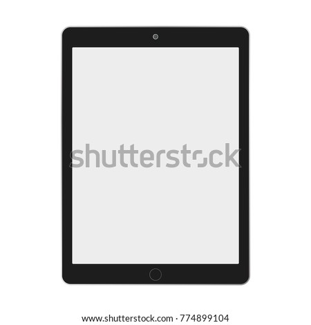 Black ipad tablet with grey screen on white backgorund vector eps10