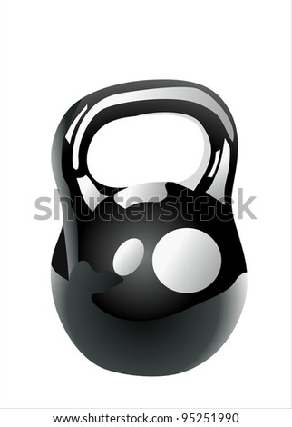 black iron kettlebell for weight training isolated on white