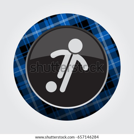 black isolated button with blue