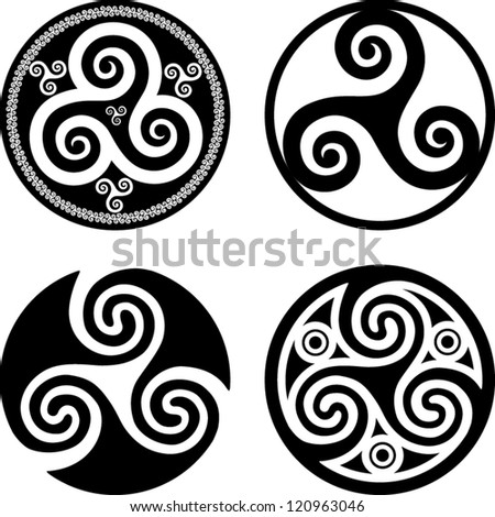 Black isolated celtic triskels set in rounds vector elements for your design