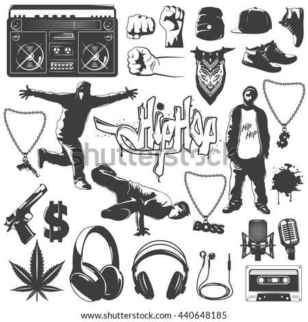 Black isolated hip hop icon set attributes and accessories to create a hip hop style vector illustration