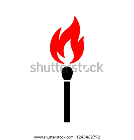 Black isolated icon of matchstick with red fire on white background. Silhouette of match stick with red flame. Flat design