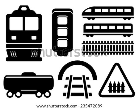 black isolated objects for rail