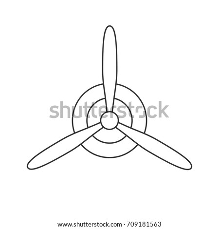 Black isolated outline icon of propeller on white background. Line Icon of propeller of airplane.